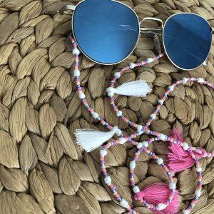 Roze zonnebrilkoord met kwastjes