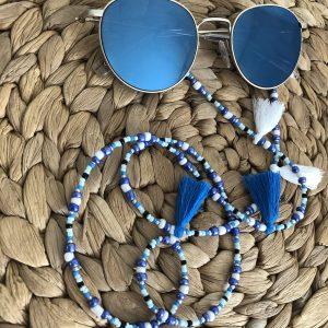 Blauw zonnebrilkoord met kwastjes
