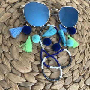 Turquoise zonnebrilkoord