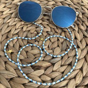 Zonnebrilkoord blauw/wit/goud