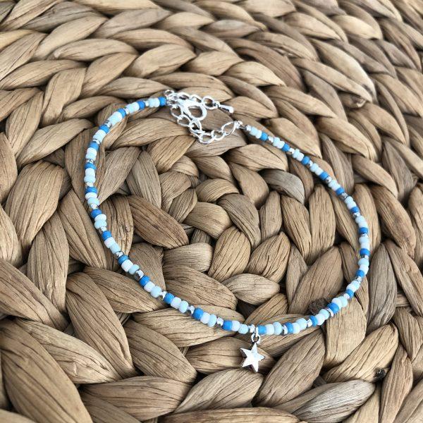 Enkelbandje - blauw/wit/zilver