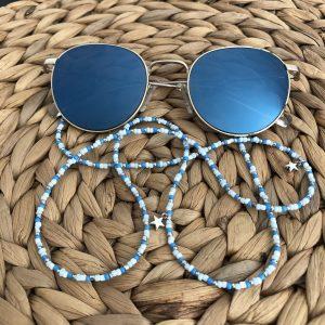 Zonnebrilkoord blauw/wit/zilver